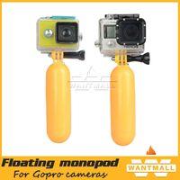 Wholesale 2015 Yellow Multifunction Floating Handheld tripod Monopod Mount Screw Bobber For Gopro HD Hero