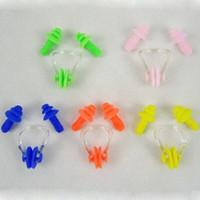 Wholesale Waterproof Soft Silicone Water Sport Swimming Swim Nose Clip Mushroom Earplug Ear Plug Set Case Colors Multicolor Hotsale
