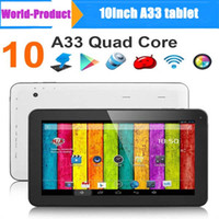 Wholesale 10 A33 Quad core Tablet pc Allwinner A33 GHZ Android Capacitive Touch Screen Tablet PC GB GB Bluetooth Wifi Dual Webcam