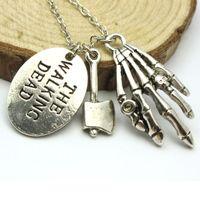 axe charm - Hot Show The Walking Dead Axe Skeleton Paw Pendants Men Charm Necklaces Vintage Punk Skull Letter Pendant Necklace