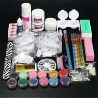 Wholesale Fashion Nail Art Set Kit Acrylic Powder Liquid Glitter Glue Toes separator Brush r Primer Tips Decorations Manicure Tools