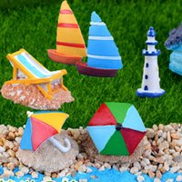 Wholesale Beach micro landscape resin craft sailing micro world fairy garden decoration showcase microlandschaft
