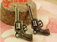 antique military weapons - 16 MM Antique bronze Jewelry accessories retro hand gun charm pendants pistol charm rifle weapon military charm