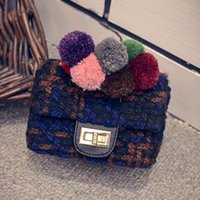 bead thread sizes - Hot Selling Retro Woolen Ball Chain Shoulder Bag Lovely Mini Size Chain Messenger Package Cute Small Flap Handbag BG234