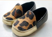 best leopard flats - New Leopard Genuine Leather Horse hair baby shoes First Walkers Toddler baby moccasins shoes Flat sandals best gilfts f
