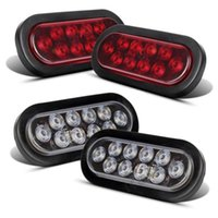 backup light led trailer - 4pcs Red White LED quot Oval Trailer Truck Stop Turn Backup Tail Light Flush Mount
