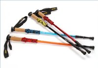 Wholesale Ultra light carbon cork handle alpenstocks section adjustable canes walking sticks Trekking Poles trekking pole for outdoor sport