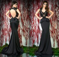 Cheap 2015 Sexy Black Mermaid Evening Dresses Sheer V-Neck Sleeveless Appliques Peplum Backless Sweep Train Formal Evening Gowns Free Shipping
