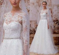 dresses in china - White Ivory Charming A Line Wedding Dresses Crew Long Sleeve Applique Lace Beaded Sweep Train Spring Garden Bridal Gowns Made IN China LQ