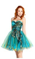 Wholesale Peacock Metallic Hot Sales Holiday Party Dress Embroidery Sweetheart Strapless Short Mini Homecoming Dresses