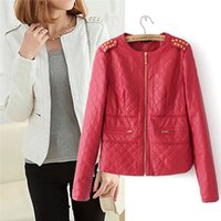 womens leather jackets - O Neckline Womens Jackets Long Sleeve PU Leather Ladies Outerwear with Pockets Brass Rivets Design Zipper Closure Hot Sale AD00687