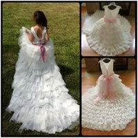 baby party frocks - 2016 White Backless Tiered Tulle Flower Girl Dresses With Long Trian First Communion Dress for Girls Pageant Baby Party Frocks