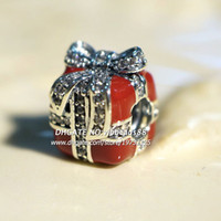 Wholesale 2015 New S925 Sterling Silver Sparkling Surprise With Red Enamel and Clear CZ Charm Beads Fit European Pandora Jewelry Charm Bracelets BE314