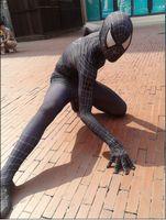 amazing spider - adult marvel lycra black white Amazing Spiderman Costume Cosplay mask lens Halloween costume spider man
