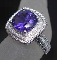 amethyst ring solid gold - Genuine Natural Diamond Purple Amethyst Engagement Ring Solid K White Gold R0104
