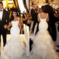 Cheap New Arrival Custom Made Kim Kardashian Real Model Sexy Straps Tiers Ruffles Mermaid Wedding Dress Bridal Gown Chapel Train