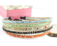 Wholesale 2015 Princess Lady Girls Headbands Rhinestone Headband Woman Sparkling Beads Hairband Hair Bands Black Orange Blue Multi color D3721