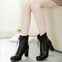 Wholesale 2014 winter new European and American fashion leather boots Martin boots single high heeled lace short boots ST5129
