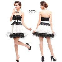 babydoll cocktail dress - HE03070 Ever Pretty Hot Selling Girl s Babydoll Black And White Bowtie Strapless Mini Cocktail Dress