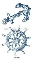 anchor steering wheel - Amazing ship steering wheel anchor tattoos stickers fashion D temporary tattoos sheets