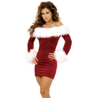 Wholesale Women Santa Claus Sexy Costumes Mini Dresses Long Sleeve Chrismas Stage Dress Up Outfit