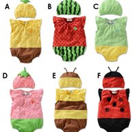 Cheap Baby Rompers 2015 Infant Romper Boys One-piece Girls Fruit Animal Bee Printed Climbing Clothing Newborn Bodysuits Hat 6 Style I3868