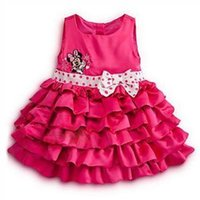 Cheap 2014 Girls Minnie Mouse dress cake layers dot summer dress autumn baby vest dress bow belt free shipping
