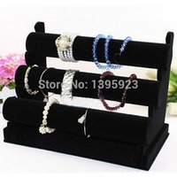 bars leather necklace - 3 Tier Black Velvet Bracelet Chain Watch T Bar Rack Jewelry Organizer Hard Display Stand Holder
