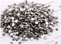 art jet - differene MIX size Jet hematite color round shape Nail Art Rhinestones Material Factory Price FlatBack non Hotfix Rhinestones