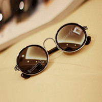 Wholesale Hot Sales Retro Vintage Style s Round Lens Sunglasses Steampunk Glasses Goggles Grunge gx10