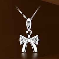 air free sterling silver - High Quality Sterling Silver Bow with Crystal Necklace Pendant Jewelry China Post Air Mail