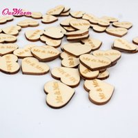 wooden hearts - 50pcs Set Natural Wooden Love Heart Wedding Decoration Rustic Table Carved Crafts Mr Mrs Just Married Love