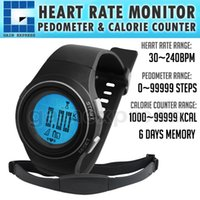 Wholesale HRM bpm Heart Rate Monitor Pedometer Exercise Belt Fat Calorie Counter Digital Sports Fitness Running Hiking Watch
