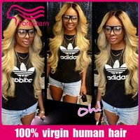 Cheap 130 density omber human hair wig brazilian omber two tone wigs 1B# T27#full lace wig lace front wig with bleachknot