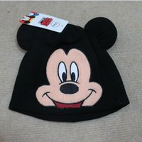 boys beanie caps - 2 color kid boy girl mickey minnie wool knit winter autumn warm beanie cap thick hat for to year christmas birthday gift topB1283