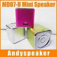 Wholesale Mini Speaker Cube MD07 U TF Card Music Sound Box MUSIC ANGEL With FM Portable Mini Digital Speaker For MP3 Player For Computer up