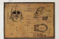 al por mayor máscara de papel de la vendimia-Star Wars Darth Vader o Stormtrooper casco máscara Diseño Diagrama de dibujos Vintage Papel Poster Pintura mural 42X30 CM