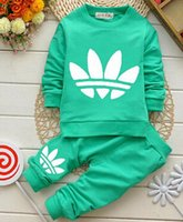 baby tracksuit - 2015 New Cotton Long Sleeves Spring Baby Sets Round Neckline Zipper Printing Outwear Pants pc Boys Girls Tracksuits Hot