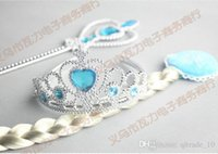 Wholesale DDA3753 set New kids Frozen Cosplay sets Frozen elsa anna clip in synthetic straight hair extension wig frozen elsa crown magic wand
