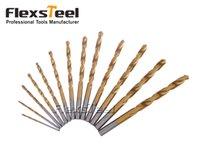 Haute qualité 13PCS HSS à haute vitesse en titane d'acier revêtu twist foret bits fixé 1,5-6,5mm