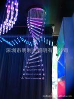 acrylic bubble rod - fibre optic lighting rod chandelier bubbles LED full color acrylic staircase chandelier lamp generador de energia fibre optique