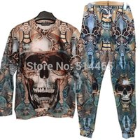 Cheap 2015 Snakeskin and skulls printing sweat suit tracksuit for men women boy sport joggers&sweatshirt pants set outfit clothing