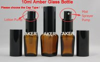 Wholesale High Quality ml Square Shape Amber Glass Mist Sprayer Pump Cosmetic Glass Bottle and Lotion Pump Cream Packing Glass Bottle Factory Sale