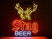 Wholesale New Stag Beer Glass Neon Sign Light Beer Bar Pub Sign Arts Crafts Gifts Lighting Size quot