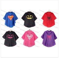 Wholesale DHL fast ship New Kids Rain Coat children Raincoat Rainwear Rainsuit Kids Waterproof Superhero Raincoat