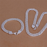 Wholesale S141 Fashion Jewelry Set Silver MM chain necklace bracelet for men Top quality factory price