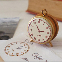 Wholesale Retro Wooden Clock Stamp Rubber Diary Decorative Time Manage School Supply Child Funny Gift Creative Stationery Stamp