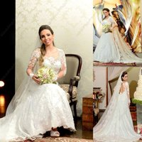 Cheap Sheer Neck Sweetheart Lace A-Line Wedding Dresses Bridal Gowns Long Lace Sleeves Backless Custom Wedding Gowns Real Pictures