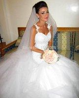 Wholesale Wedding Dresses Wedding Dresses Mermaid White Tulle Appliqued Cap Sleeves Wedding Dresses