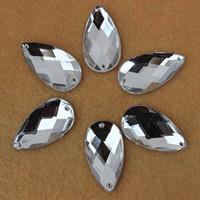 Wholesale 100pcs mm Acrylic Crystal Flatback Beads Rhinestones Big Drop Accessories Sew on For Dress stones Hole ZZ252